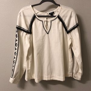 A.n.a Beaded and Embroidered Peasant Top